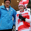 Matthew Bell (left) and Becky Evatt placed first in the men and women's Candy Cane Dash Saturday, Dec. 14, 2013. (Staff Photo by BONNIE VCULEK)