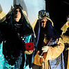 Three wise men, portrayed by members of the Enid First Nazarene Church, participate in the living drive-through nativity at 324 N. Cleveland. The simple, visual reenactment of the truth of of Christmas has been a gift from the congregation to the Enid community for several years. (Staff Photo by BONNIE VCULEK)