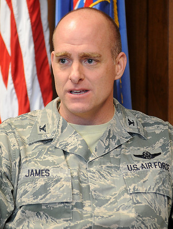 Col. Darren V. James, Commander of the 71st Flying Training Wing at Vance Air Force Base, reviews the base's accomplishments during the year in an interview Friday, Dec. 20, 2013. (Staff Photo by BONNIE VCULEK)