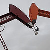 Two pump jacks at a Hennessey oil company display support for the OU Sooners and OSU Cowboys Wednesday, Dec. 4, 2013. The annual bedlam football game will be at T. Boone Pickens Stadium at 11:00 a.m. Saturday, Dec. 7, 2013. (Staff Photo by BONNIE VCULEK)