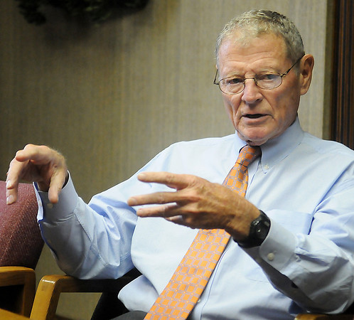 Sen. James Inhofe discusses military issues and the National Defense Authorization Bill that must be passed by Jan. 1, 2014, during an editorial board meeting at the Enid News and Eagle Wednesday, Dec. 4, 2013. (Staff Photo by BONNIE VCULEK)