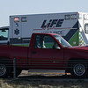 A pick-up that was involved in an accident on U.S. 412 near 114th street Thursday December 1, 2016. (Billy Hefton / Enid News & Eagle)