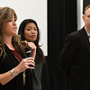 "Jenny Holtzclaw answers a question as Michelle Malkin and Brain Bates stand near during a Q&A section following a screening of ""Daniel in the Den"" Saturday December 10, 2016 at the Central National Bank Center. (Billy Hefton / Enid News & Eagle)"