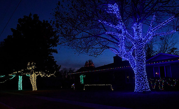 Christmas lights light up the trees of a house on South Main Street in Waukomis Wednesday December 14, 2016. (Billy Hefton / Enid News & Eagle)