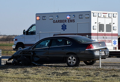A car that was involved in an accident on U.S. 412 near 114th street Thursday December 1, 2016. (Billy Hefton / Enid News & Eagle)