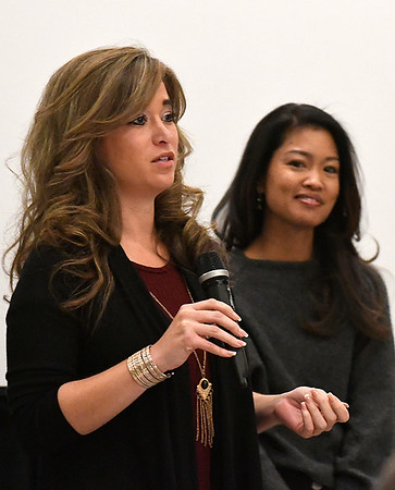 """Jenny Holtzclaw answers a question as Michelle Malkin stands near during a Q&A section following a screening of """"Daniel in the Den"""" Saturday December 10, 2016 at the Central National Bank Center. (Billy Hefton / Enid News & Eagle)"""