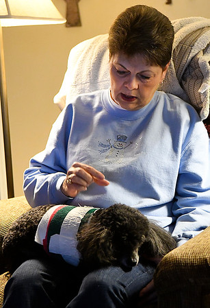 Mary Ann Ools gestures as she describes the wounds her poodle, Benji, suffered in a coyote attack, (Billy Hefton / Enid News & Eagle)
