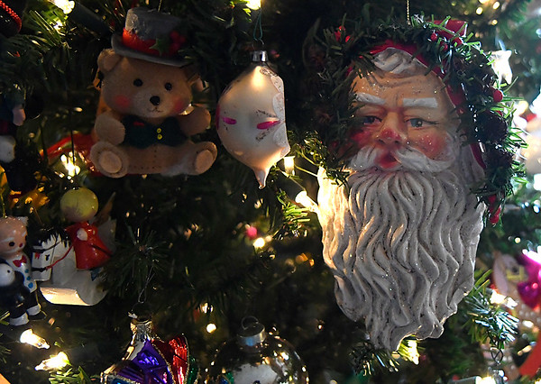 Ornaments on the Christmas tree at Evelyn Crawford's home during an interview Wednesday December 21, 2016. (Billy Hefton / Enid News & Eagle)