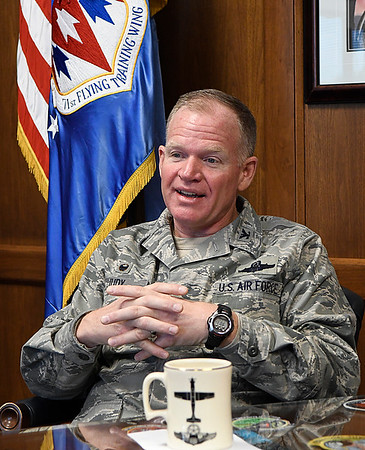 Colonel Darrell Judy, commander 71st Flying Training Wing, during an interview Thursday December 8, 2016 at Vance Air Force Base. (Billy Hefton / Enid News & Eagle)