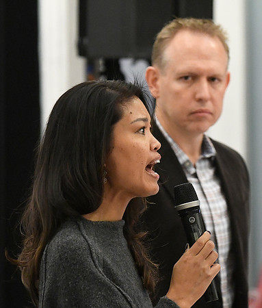 """Michelle Malkin answers a question as Brian Bates stands near during a Q&A section following a screening of """"Daniel in the Den"""" Saturday December 10, 2016 at the Central National Bank Center. (Billy Hefton / Enid News & Eagle)"""