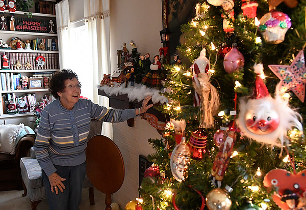 Evelyn Crawford smiles as she talks about her Christmas decorations during an interview at her home Wednesday December 21, 2016. (Billy Hefton / Enid News & Eagle)