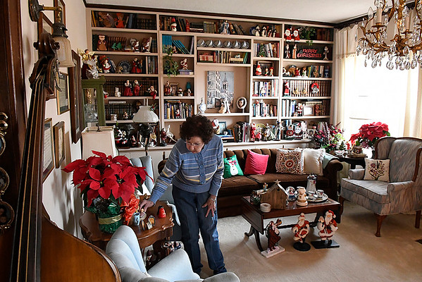 Evelyn Crawford talks about her Christmas decoration during an interview at her home Wednesday December 21, 2016. (Billy Hefton / Enid News & Eagle)