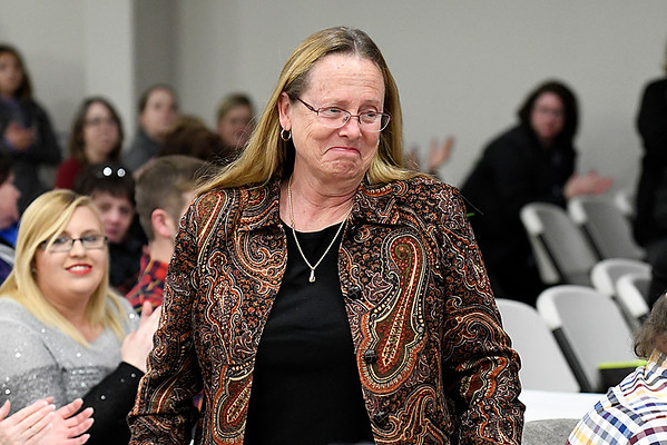 Barbara Baker ,of Waller Middle School, after being named Enid Public Schools Teacher of the Year during the Enid Public School Foundation's Education Celebration Wednesday at Prairie View Elementary. (Billy Hefton / Enid News & Eagle)