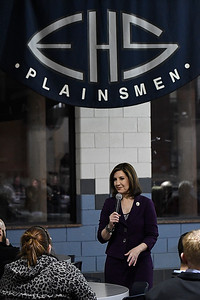 Joy Hofmeister, Oklahoma State Superintendent of Public Instruction, during a town hall meeting Monday December 5, 2016 at Enid High School. (Billy Hefton / Enid News & Eagle)