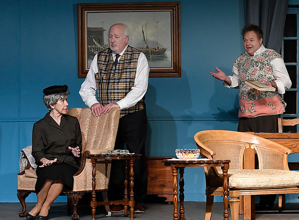 "Mary McDonald, Larry Kiner and Jim Clark rehearse a scene from the Gaslight Theater production of ""The Mousetrap"" Wednesday December 6, 2017 at the Gaslight Theater. (Billy Hefton / Enid News & Eagle)"