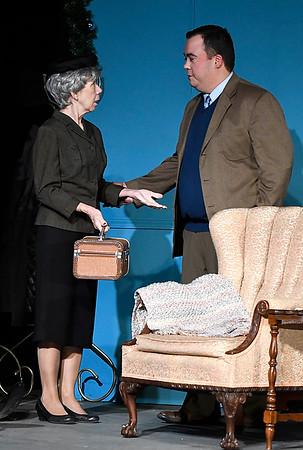 """Mary McDonald and Brad Estabrooks rehearse a scene from the Gaslight Theater production of """"The Mousetrap"""" Wednesday December 6, 2017 at the Gaslight Theater. (Billy Hefton / Enid News & Eagle)"""
