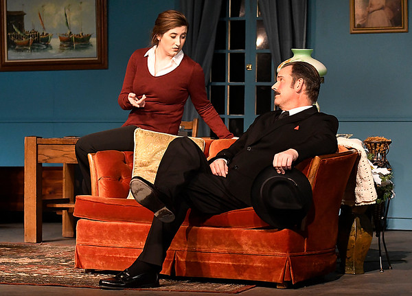 """Bailey Wilson and Mat Perkins rehearse a scene from the Gaslight Theater production of """"The Mousetrap"""" Wednesday December 6, 2017 at the Gaslight Theater. (Billy Hefton / Enid News & Eagle)"""