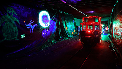 A train moves through a Nightmare Before Christmas scene at Kingfisher Winter Nights Monday December 3, 2018. The light display runs through December 24, opening at 6 p.m. each night. Tickets for the train rides are $3. (Billy Hefton / Enid News & Eagle)