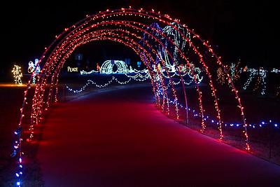 Light tunnels through Kingfisher Winter Nights Monday December 3, 2018. The light display runs through December 24, opening at 6 p.m. each night. (Billy Hefton / Enid News & Eagle)