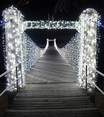 Bridge over Uncle John Creek at Kingfisher Winter Nights Monday December 3, 2018. The light display runs through December 24, opening at 6 p.m. each night. (Billy Hefton / Enid News & Eagle)