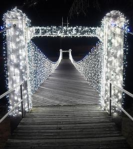 Bridge over Uncle John Creek at Kingfisher Winter Nights Monday December 3, 2018. The light display runs through December 24, opening at 6 p.m. each night. (Billy Hefton / Enid News & Eagle)