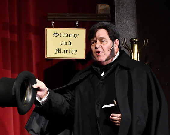 """Mike Weatherford as Ebenezer Scrooge from the Gaslight Theater production of """"Scrooge!"""" Wednesday, December 4, 2019 at the Gaslight Theater. (Billy Hefton / Enid News & Eagle)"""