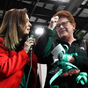 Carol Curtis (right) pumps her fist after April Danahy confirms that she is the grand prize winner of $7500 in the 16th Candy Cane Cash drawing Tuesday, December 10, 2019 at the Chisholm Trail Expo Center. (Billy Hefton / Enid News & Eagle)