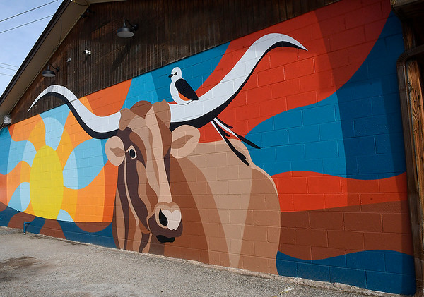 Mural painted by Kelly and Ty Tompkins on the side of Big Country Meat Market. (Billy Hefton / Enid News & Eagle)