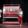 Frank Baker, April Danahy and Miss NOC Enid Emily Hall during a virtual Candy Cane Cash drawing Tuesday, December 8, 2020 at Enid High School. (Billy Hefton / Enid News & Eagle)