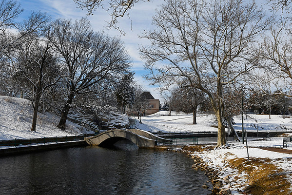 A snow covered Government Springs Park Monday, December 14, 2020. (Billy Hefton / Enid News & Eagle)