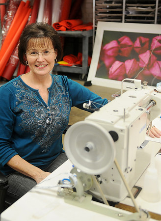 Donna Lemmons, owner of Aerosock, pauses inside her business at 222 E. Maple Friday, Feb.8, 2013. Lemmons provides windsocks around the world and assists Mike Klemme with his printing needs. (Staff Photo by BONNIE VCULEK)
