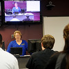 Sheila Blalock, R.N., M.S., instructs Northwestern Oklahoma State University nursing students at the Enid campus Thursday, Feb. 7, 2013. Blalock is able to teach nursing classes at all three NWOSU sites via web cast. (Staff Photo by BONNIE VCULEK)