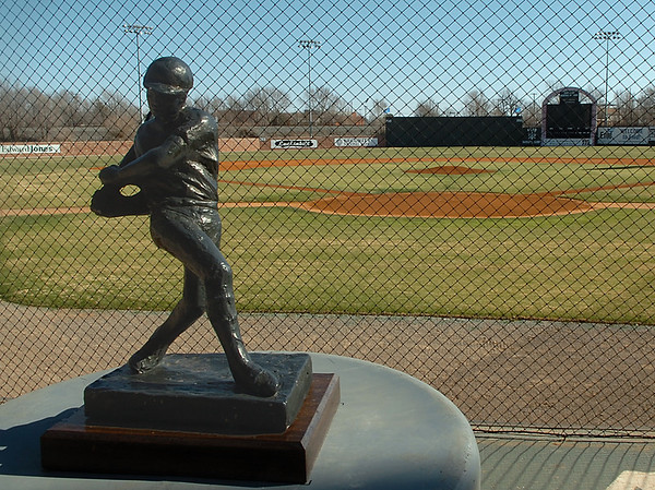 A sculpture stands atop the speed gun box at David Allen Memorial Ballpark.  Northern Oklahoma College is scheduled to open the baseball season Saturday at 2 p.m. with a doubleheader against Cloud College. (Staff Photo by BILLY HEFTON)