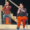 "Courtney Skaggs and Riley Dennis rehearse the Gaslight Theater production ""Distracted"". (Staff Photo by BILLY HEFTON)"