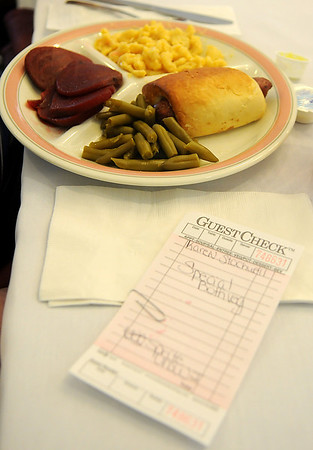 Pigs in a blanket, steamed green beans, sliced beets and macaroni and cheese was the special meal selected by Karen Stockwell at Greenbrier Village Wednesday, Feb. 13, 2013. Clients may select from the regular menu or select the special meal prepared by the Greenbrier dietary staff. (Staff Photo by BONNIE VCULEK)