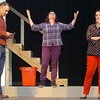 "(Left to right) Riley Dennis, Terri Galer and Courtney Skaggs rehearse the Gaslight Theater production ""Distracted"". (Staff Photo by BILLY HEFTON)"