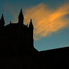 The Marshall Building is silhouetted by the sunset Monday. (Staff Photo by BILLY HEFTON)