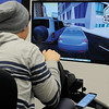 Jordan Noteware participates in an AT&T Virtual Reality simulation during the Don't Text and Drive: It Can Wait presentation at Autry Technology Center Tuesday, Feb. 19, 2013. AT&T and Autry Technology Center provided the event for nearly 200 students and staff, who pledged to not text and drive. (Staff Photo by BONNIE VCULEK)