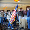 Cimarron Council Boy Scouts of America (from left) Jacob Frantz and James Schomaker post the colors during the Good Scout Luncheon at Oakwood Country Club Tuesday, Feb. 19, 2013. (Staff Photo by BONNIE VCULEK)
