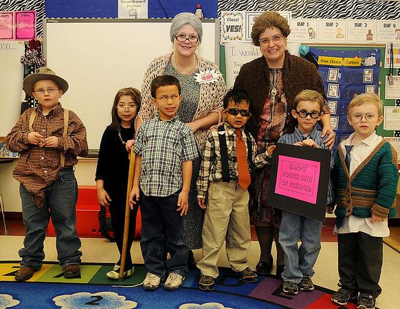 Adams Elementary School's 100th Day of School Centenarians (Staff Photo by BONNIE VCULEK)