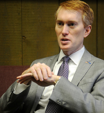 U.S. Rep. James Lankford answers a question during an interview at the News & Eagle Wednesday, Feb. 19, 2014. (Staff Photo by BONNIE VCULEK)