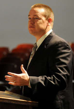 Shawn Hime, superintendent for Enid Public Schools, addresses members of the State Board of Education during their meeting at Enid High School Thursday, Feb. 27, 2014. (Staff Photo by BONNIE VCULEK)