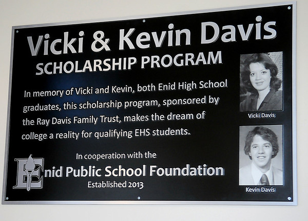 The Vicki & Kevin Davis Scholarship Program plaque was unveiled at the University Center Thursday, Feb. 20, 2014. The scholarship program is sponsored by the Ray Davis Family Trust in cooperation with the Enid Public School Foundation. (Staff Photo by BONNIE VCULEK)