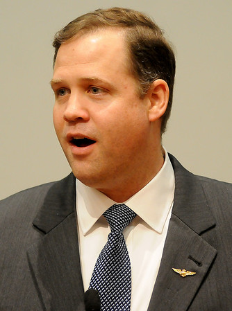 United States Congressman Jim Bridenstine for the First District of Oklahoma addresses the Enid Noon AMBUCS at the NOC-Enid Gantz Center ballroom Friday, Feb. 7, 2014. (Staff Photo by BONNIE VCULEK)