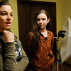 Brianna (left) and Lillian Merritt take turns answering questions during an interview about their homeschooling Friday, Feb. 21, 2014. (Staff Photo by BONNIE VCULEK)