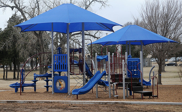The new playground area at Don Haskins Park nears completion Wednesday, Feb. 19, 2014. (Staff Photo by BONNIE VCULEK)