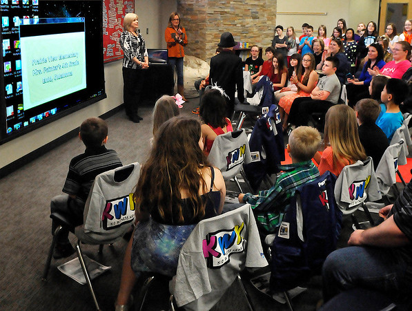Parents and students gather to watch a screening of a video produced by Lori Painter's fourth grade at Prairie Vew Elementary class that will be entered into a national competition. (Staff Photo by BILLY HEFTON)