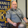 Enid Police Officer Mike Evans addresses members of the Kiwanis Club of Enid after his selection as the 2013 EPD Officer of the Year Wednesday, Feb. 12, 2014. (Staff Photo by BONNIE VCULEK)