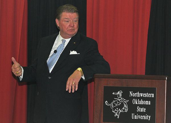 J. Pat Hickman, of Happy State bank, addresses a dinner at NWOSU Enid Thursday Feb. 25, 2016 during the school's entrepreneur workshop. (Billy Hefton / Enid News & Eagle)