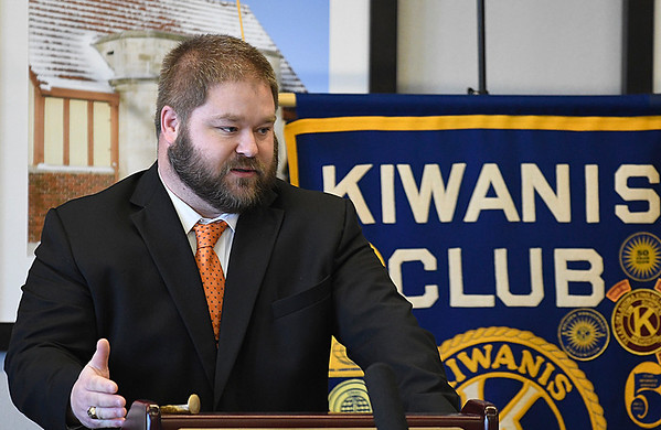 Detective Shawn Ramsey addresses the Kiwanis luncheon after being named the Police Officer of the Year Wednesday February 8, 2017. (Billy Hefton / Enid News & Eagle)